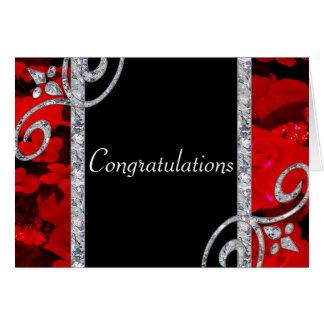 Ruby Red Roses & Diamond Swirls Wedding Greeting Card