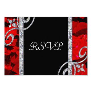 Ruby Red Roses & Diamond Swirls Wedding 9 Cm X 13 Cm Invitation Card