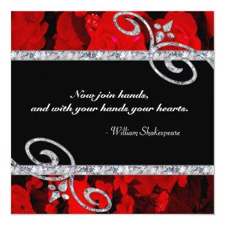 Ruby Red Roses & Diamond Swirls Wedding 13 Cm X 13 Cm Square Invitation Card