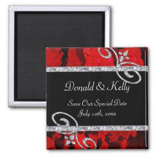 Ruby Red Roses & Diamond Swirls Wedding Magnet
