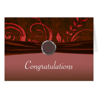 Ruby Red Velvet Wedding Swirl Greeting Cards