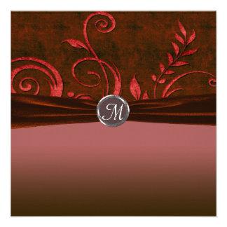 Ruby & Red Velvet Wedding Swirl Custom Invitations
