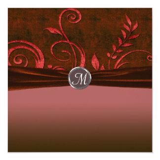 Ruby & Red Velvet Wedding Swirl 13 Cm X 13 Cm Square Invitation Card