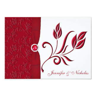 Ruby Red & White Floral Wedding Invitation