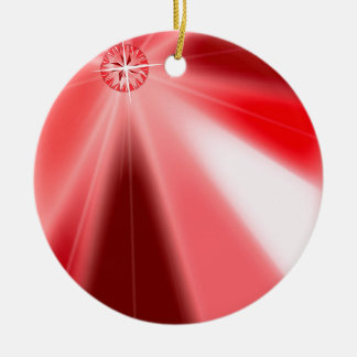 Ruby Starburst Round Ceramic Decoration