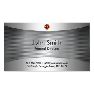 Ruby Stone Steel Funeral Business Card