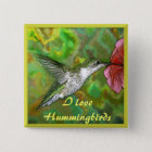 Ruby throated Hummingbird 15 Cm Square Badge