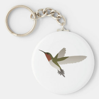 Ruby Throated Hummingbird Basic Round Button Key Ring