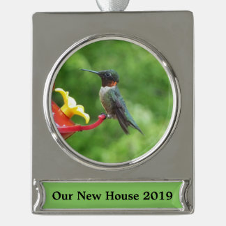 Ruby-Throated Hummingbird Bird Photography Silver Plated Banner Ornament