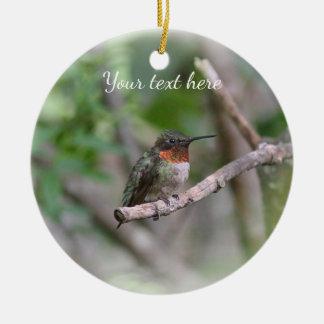 Ruby-throated hummingbird christmas ornament