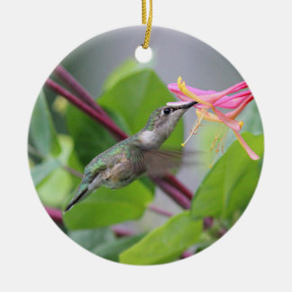 Ruby-throated hummingbird christmas ornament