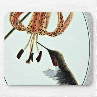 Ruby-throated hummingbird flowers mousepad