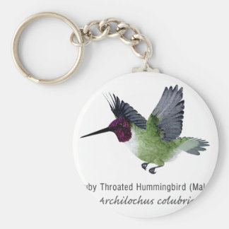 Ruby Throated Hummingbird Male with Name Keychains