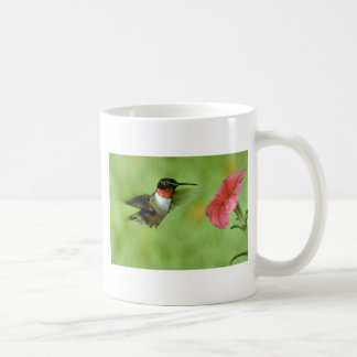 Ruby-throated Hummingbird (male) with petunia Coffee Mug