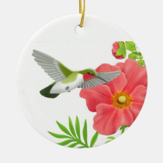 Ruby Throated Hummingbird Ornament