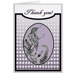 Ruby-Throated Hummingbird Purple Thank You Cards