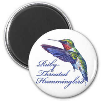 Ruby Throated Hummingbird Scripted 6 Cm Round Magnet