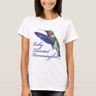 Ruby Throated Hummingbird Scripted T-Shirt
