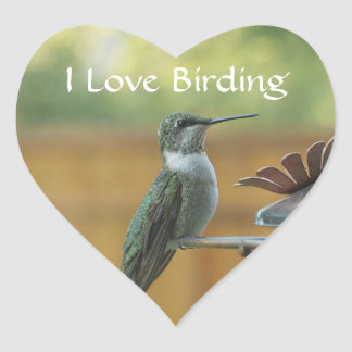 Ruby Throated Hummingbird Heart Sticker