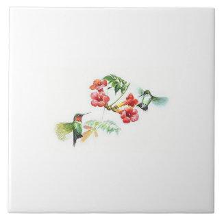 Ruby Throated Hummingbird Tile. Large Square Tile