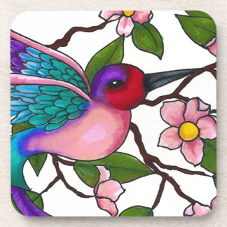 Ruby Throated Hummingbird with Peach Blossoms Drink Coasters