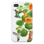 Ruby Throated Hummingbirds in Nasturtiums iPhone Cases For iPhone 4