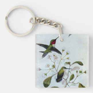 Ruby-throated Hummingbirds Key Ring