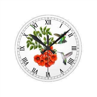 Ruby Throated Hummingbirds Wall Clock