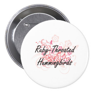 Ruby-Throated Hummingbirds with flowers background 7.5 Cm Round Badge