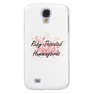 Ruby-Throated Hummingbirds with flowers background Galaxy S4 Case
