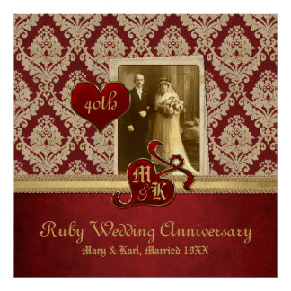 Ruby Wedding Anniversary Antique Damask Gold Red Poster