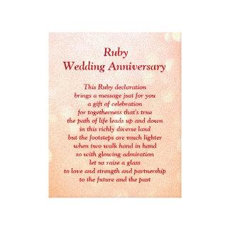 Ruby Wedding Anniversary Canvas Canvas Print