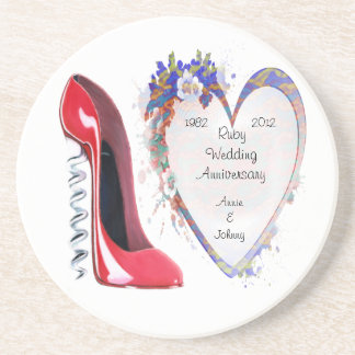 Ruby Wedding Anniversary Coaster Gift with Corkscr