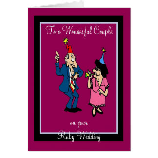 RUBY WEDDING ANNIVERSARY GREETING CARD