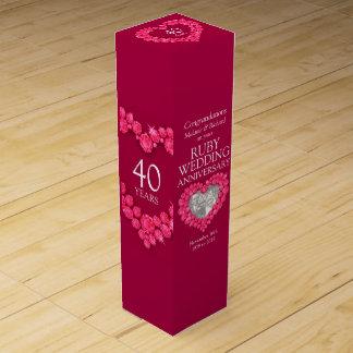 Ruby wedding anniversary heart photo wine box