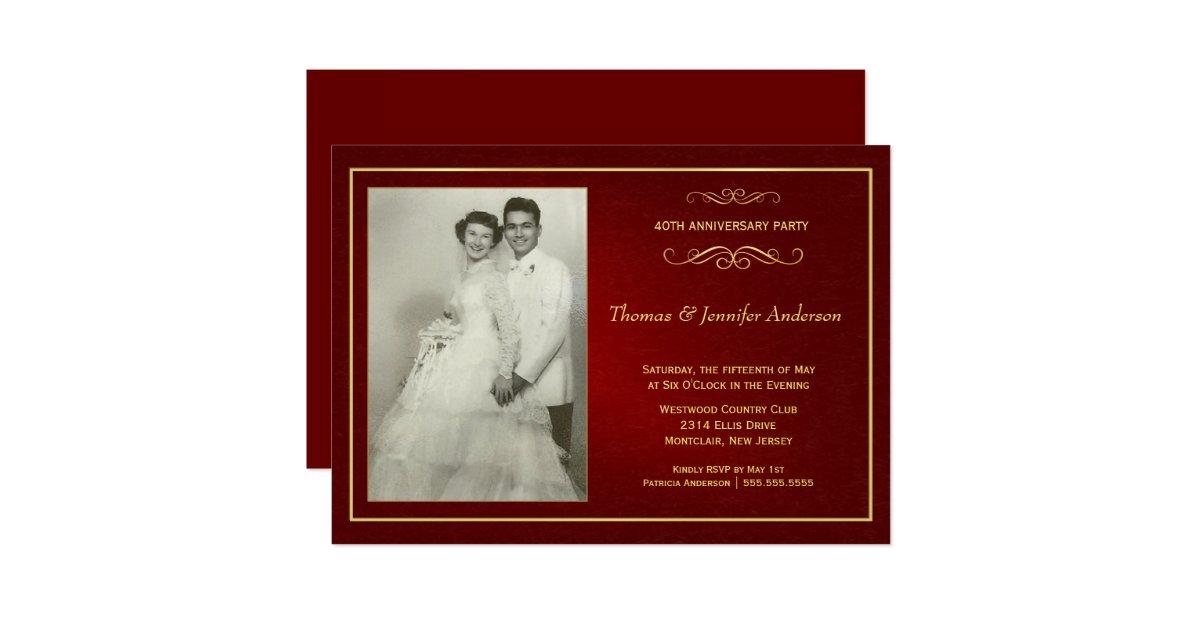 Ruby wedding anniversary invitations th zazzle