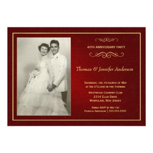 Ruby Wedding Anniversary Invitations - 40th