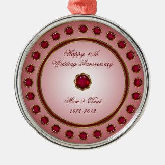 Ruby Wedding Anniversary Ornament