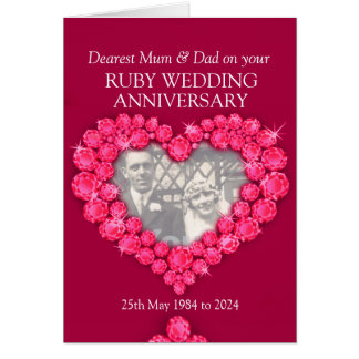 Ruby wedding anniversary parents photo card