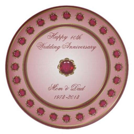 Unusual Ruby Wedding Anniversary Gifts Uk : Ruby Wedding Anniversary Plate Zazzle