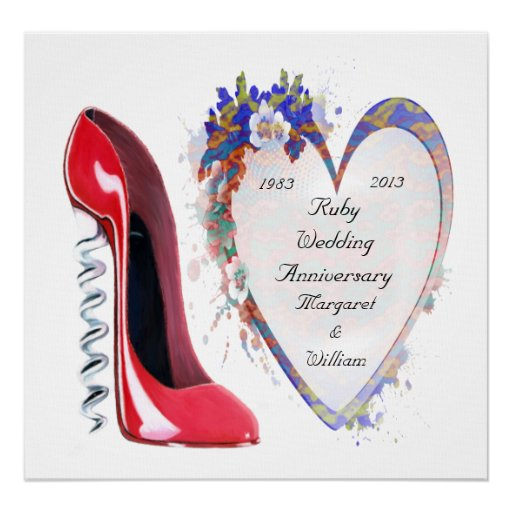 Ruby Wedding Anniversary Poster, with Customisable Poster