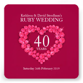 Ruby wedding heart 40 years red party invite