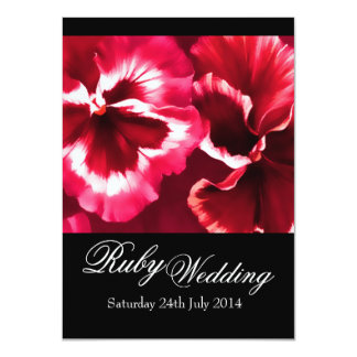 Ruby Wedding Party Invite 40th Black White & Red