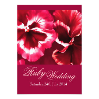 Ruby Wedding Party Invite 40th Pink & Red