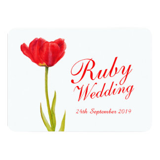 Ruby wedding party red tulip art 40th invite