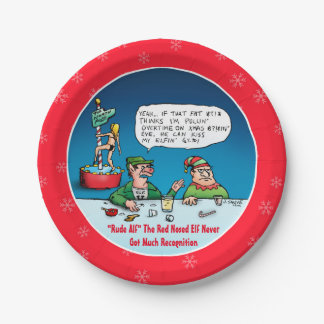 Rude Alf The Red Nosed Elf Cartoon 7 Inch Paper Plate