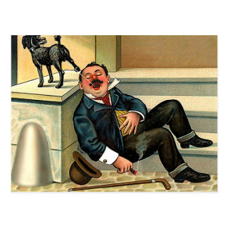 RUDE AWAKENING - Vintage Dog Art Postcard