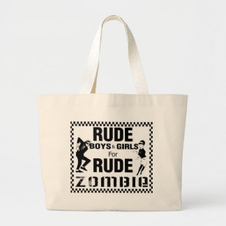 Rude boys and girls for rude zombie large tote bag