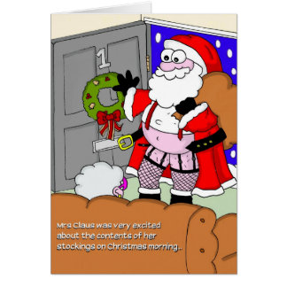 Rude Christmas Card - Santa in Stockings