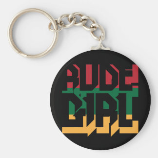 Rude Girl Basic Round Button Key Ring